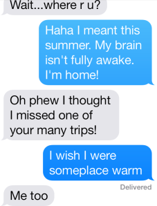 A typical text conversation of mine. Not a shining example of how digital technology enhances writing skills.