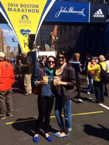 My daughter and a friend at the 2014 Boston Marathon.