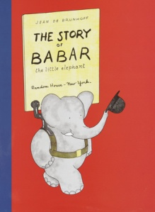 """Babar is riding happily on his mother's back when a wicked hunter, hidden behind some bushes, shoots at them."""